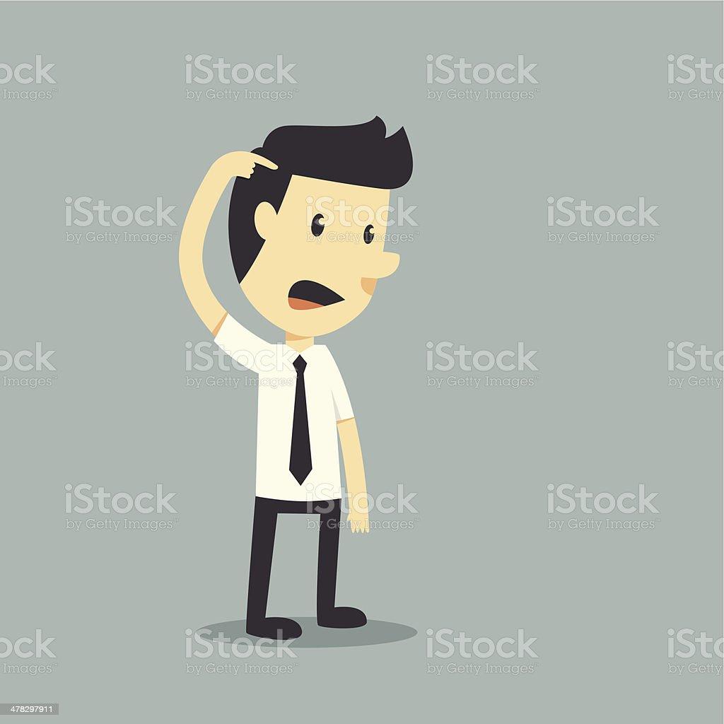 Unhappy businessman vector art illustration