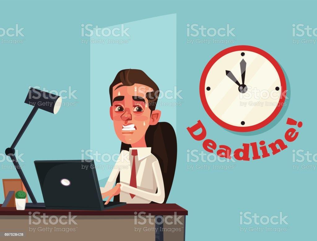 Unhappy busy sad office worker businessman character. Deadline vector art illustration