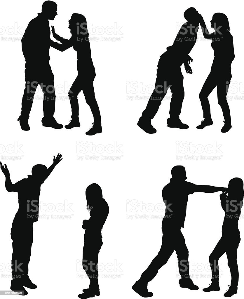 Unhappy couple arguing and fighting vector art illustration