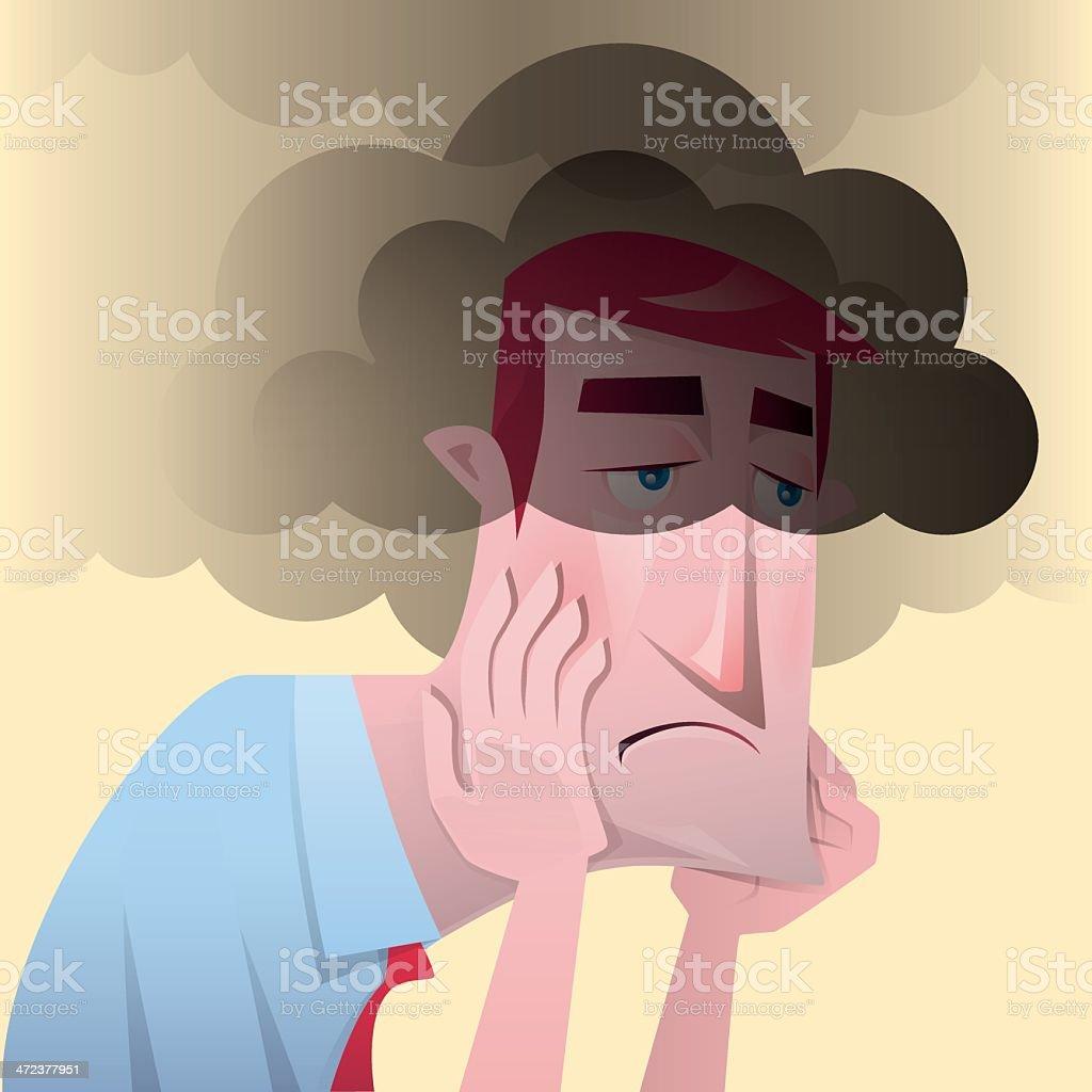 unhappy man vector art illustration