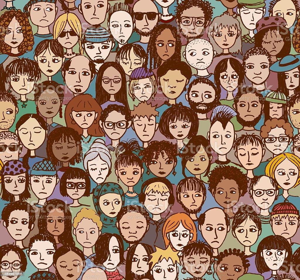 Unhappy People - hand drawn pattern vector art illustration