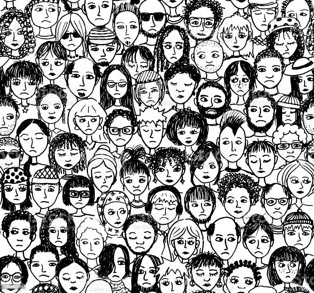 Unhappy People vector art illustration