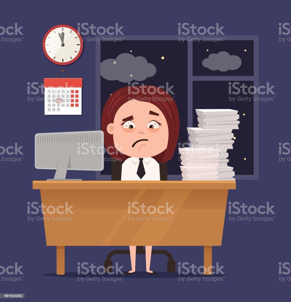 Unhappy sleepy sad office worker business woman character has lot of hard work vector art illustration