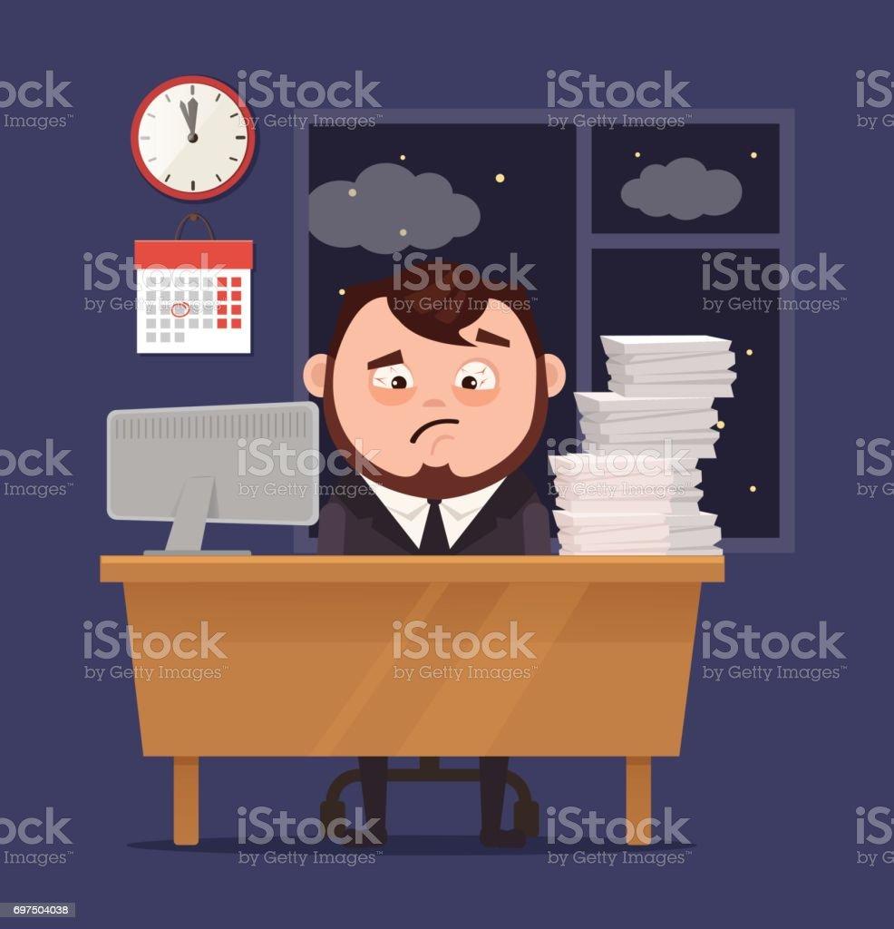 Unhappy sleepy sad office worker businessman character has lot of hard work vector art illustration