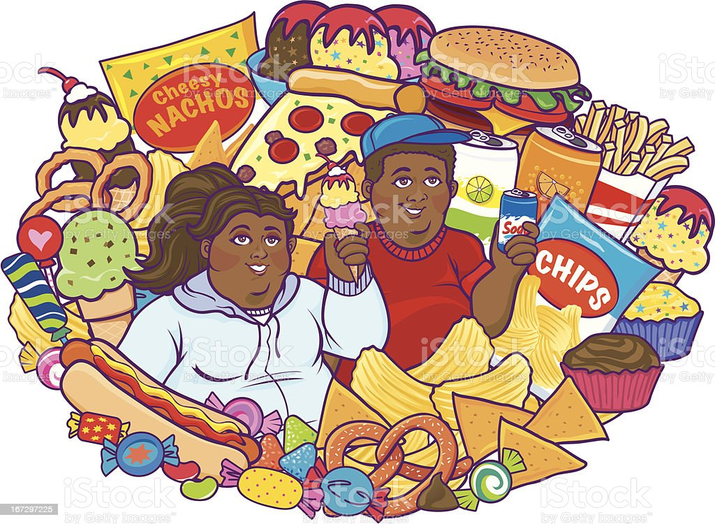 Unhealthy Eating Children Black royalty-free stock vector art