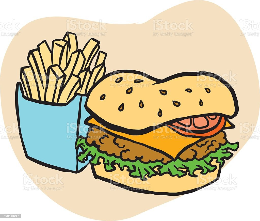 Unhealthy fast food vector art illustration