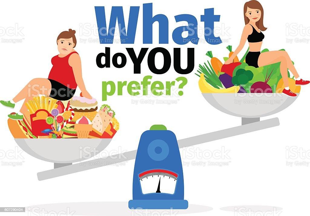 Unhealthy food and healthy vegan eating vector art illustration