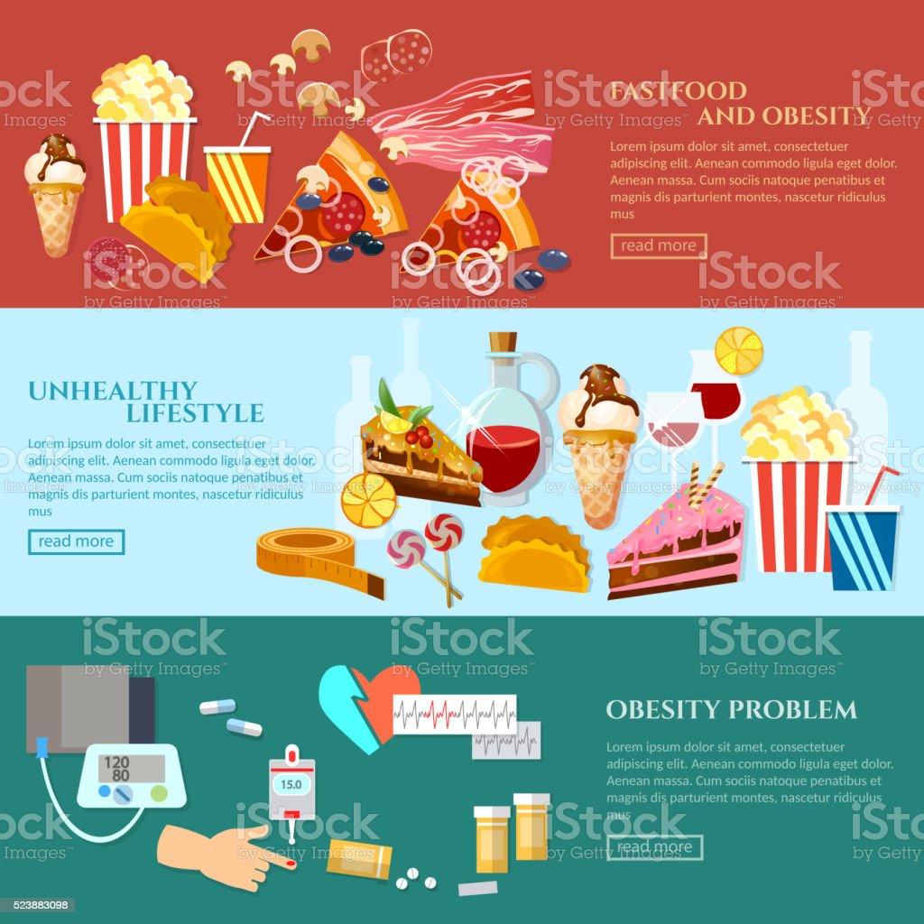 Unhealthy food banner obesity unhealthy lifestyle vector art illustration