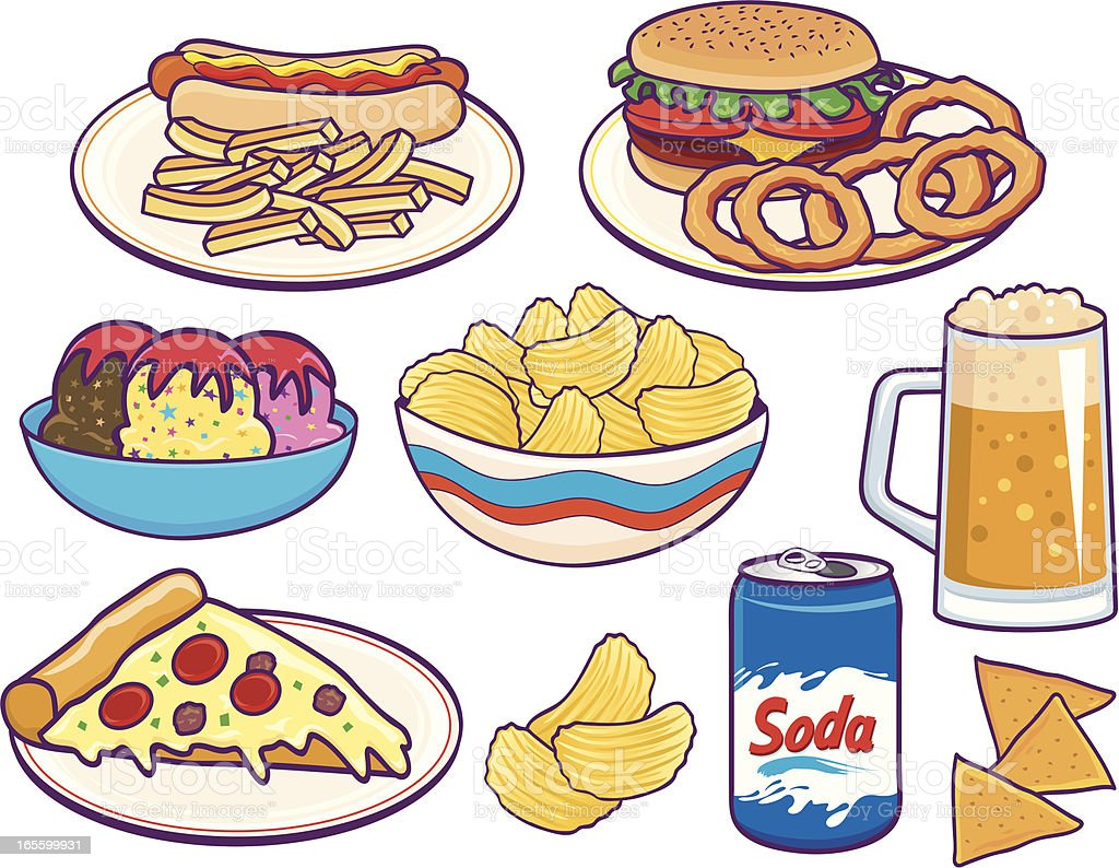 Unhealthy lunches vector art illustration
