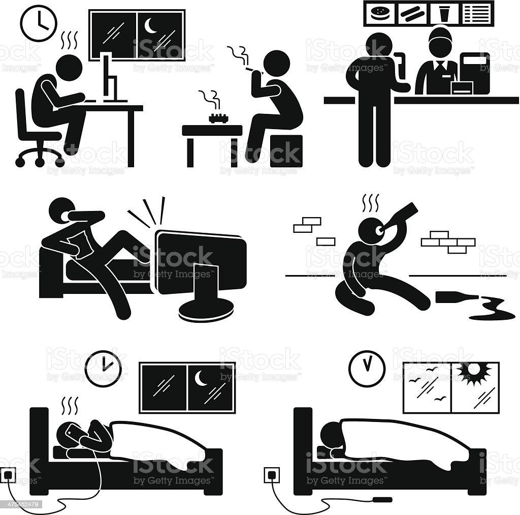 Unhealthy Poor Lifestyle Habit Stick Figure Pictogram Icon vector art illustration