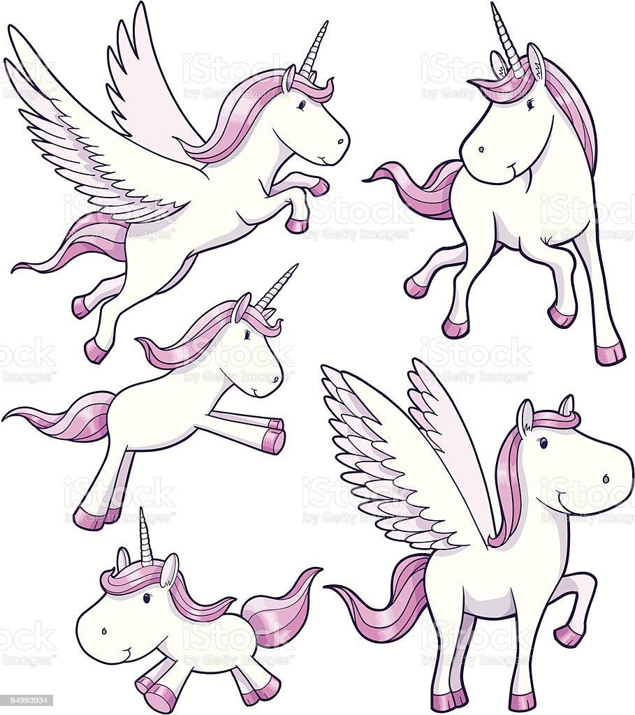 Unicorn and Pegasus Set royalty-free stock vector art