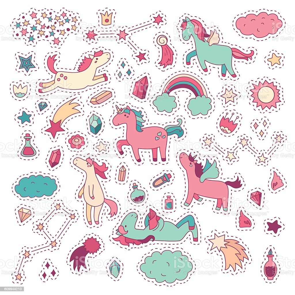 Unicorn and pony collection with magic items. Vector hand drawn vector art illustration