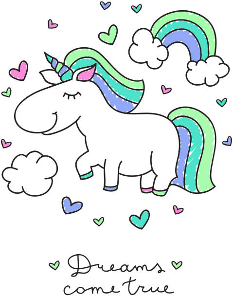 Unicorn And Rainbow Vector Art Illustration
