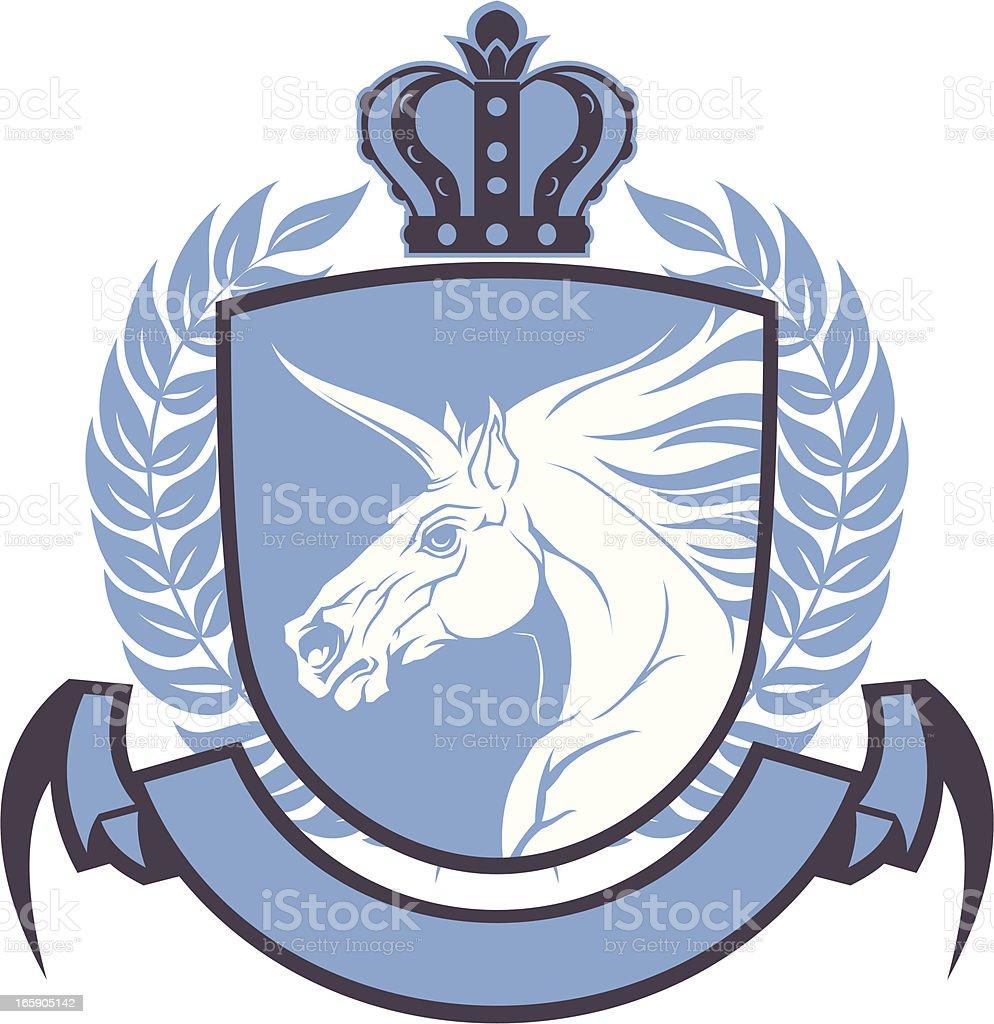 Unicorn coat of arms royalty-free stock vector art