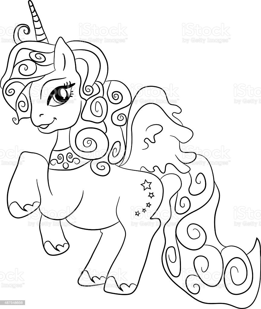 unicorn coloring page for kids stock vector art 487548656 istock