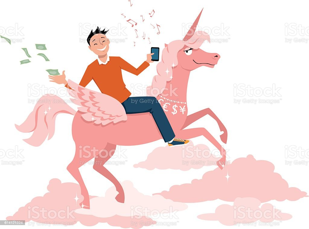 Unicorn company vector art illustration