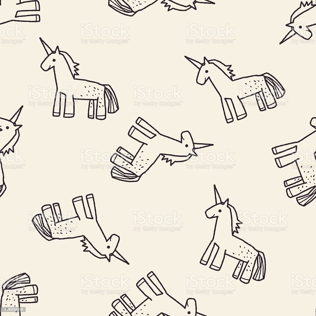Unicorn doodle seamless pattern background vector art illustration