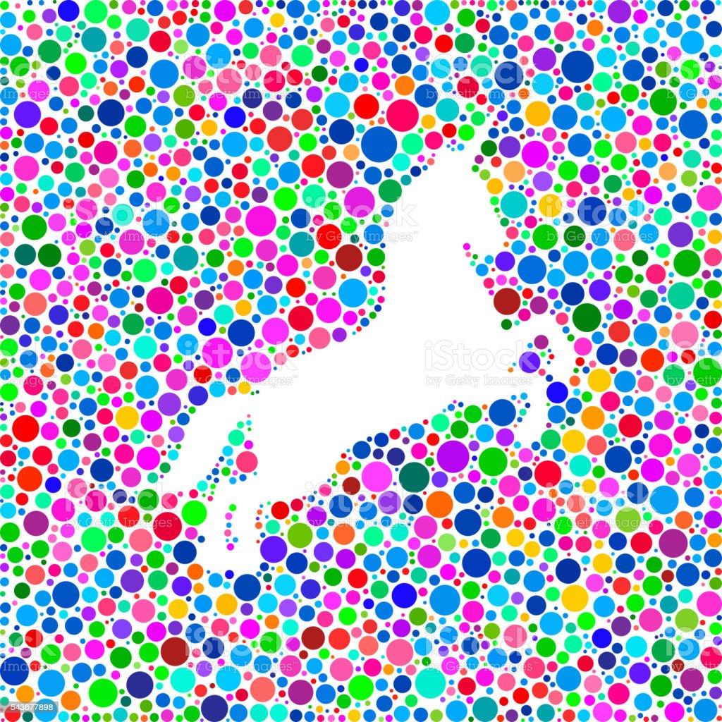 Unicorn Icon on Color Circle Background Pattern vector art illustration