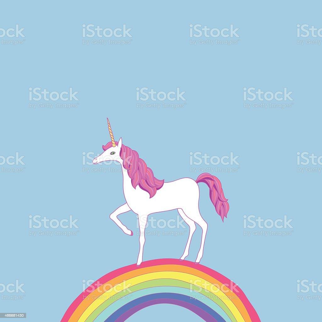 unicorn on a rainbow vector art illustration