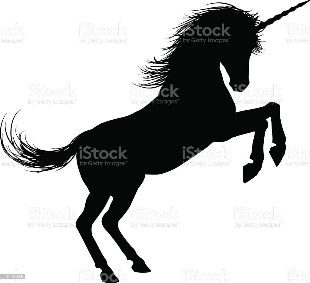 Unicorn on Hind Legs Silhouette vector art illustration