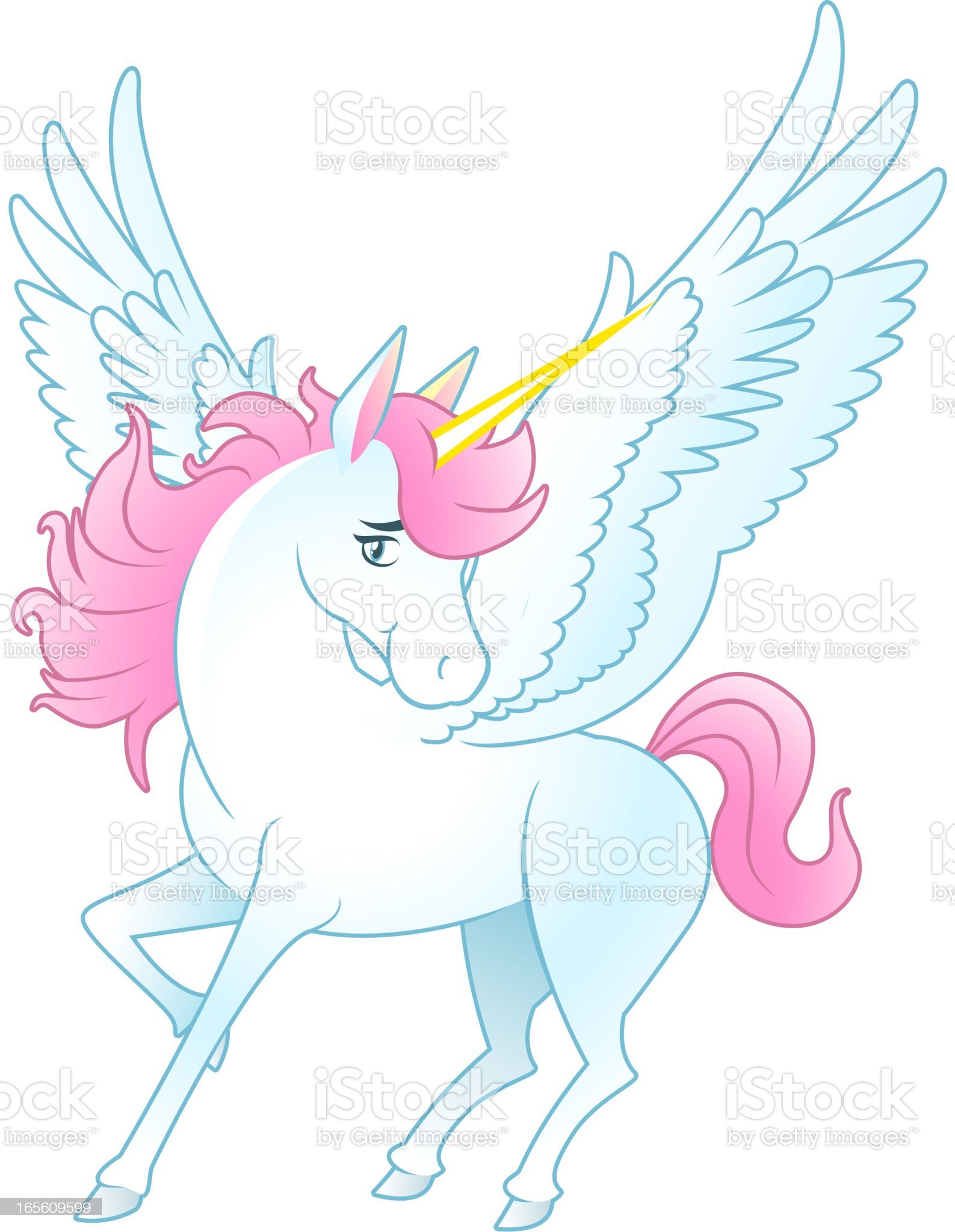 Unicorn Pegasus with opened wings and yellow horn royalty-free stock vector art