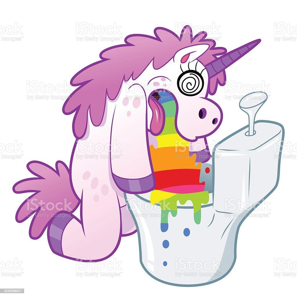 Unicorn pukes rainbow in the toilet vector art illustration
