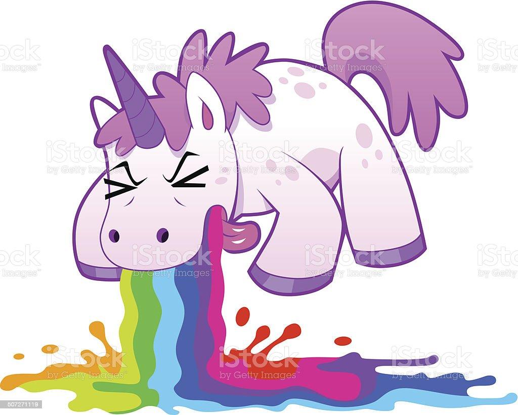 unicorn puking rainbow vector art illustration