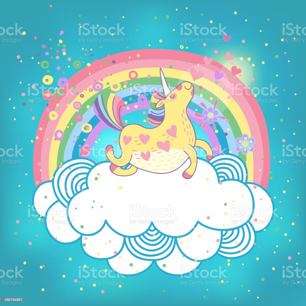Unicorn rainbow in the clouds vector art illustration