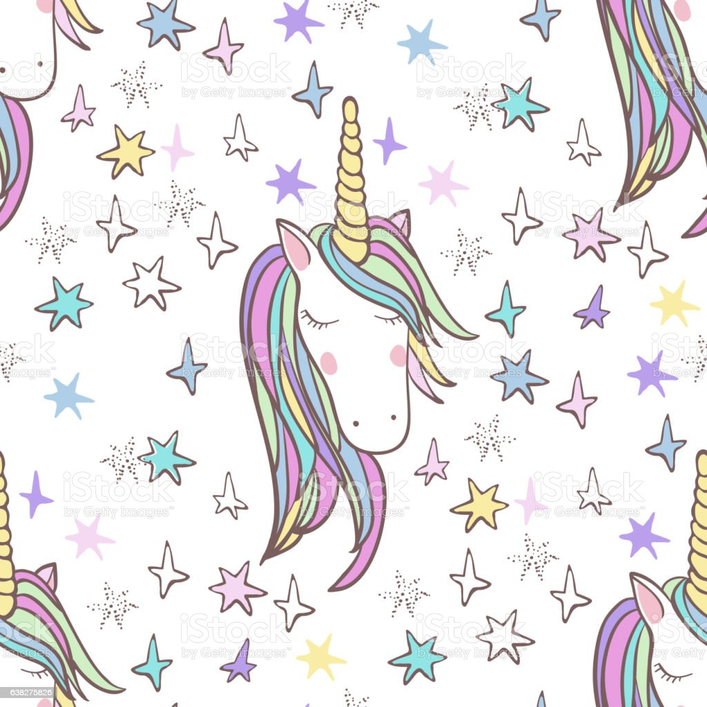 Unicorn Rainbow seamless pattern vector art illustration