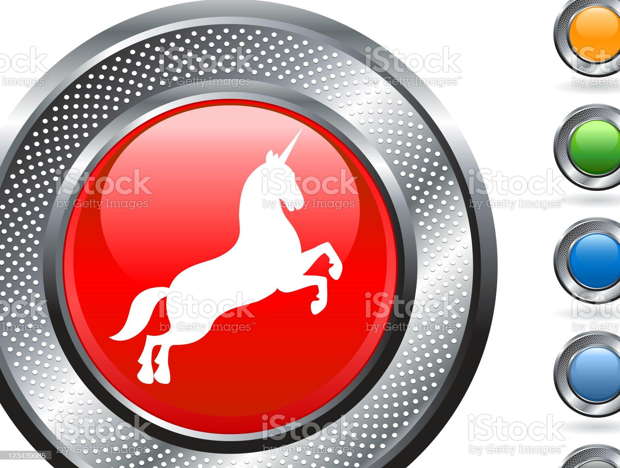 unicorn royalty free vector art on metallic button royalty-free stock vector art