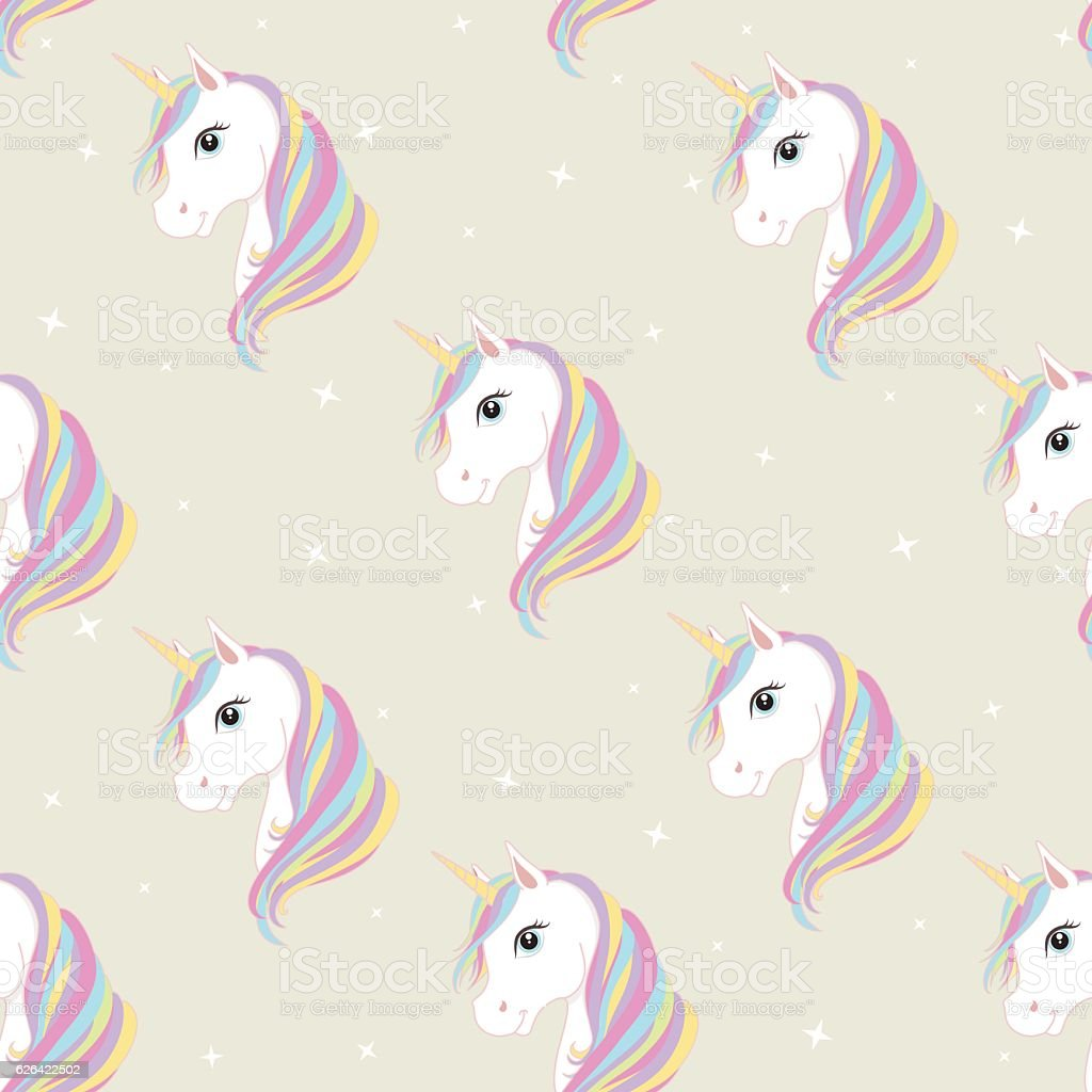Pink And Black Bedroom Unicorn Seamless Pattern Cute Magic Fantasy Vector