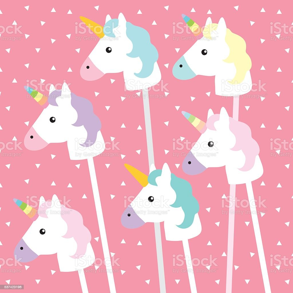 Unicorns on pink triangle pattern vector art illustration