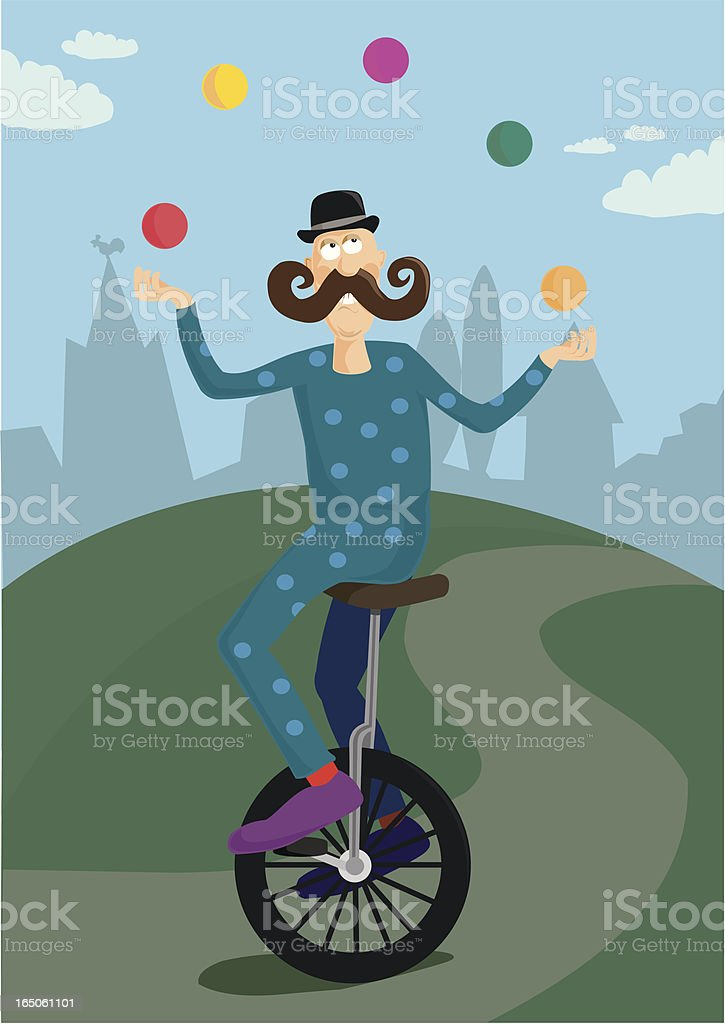 Unicycle Juggler vector art illustration