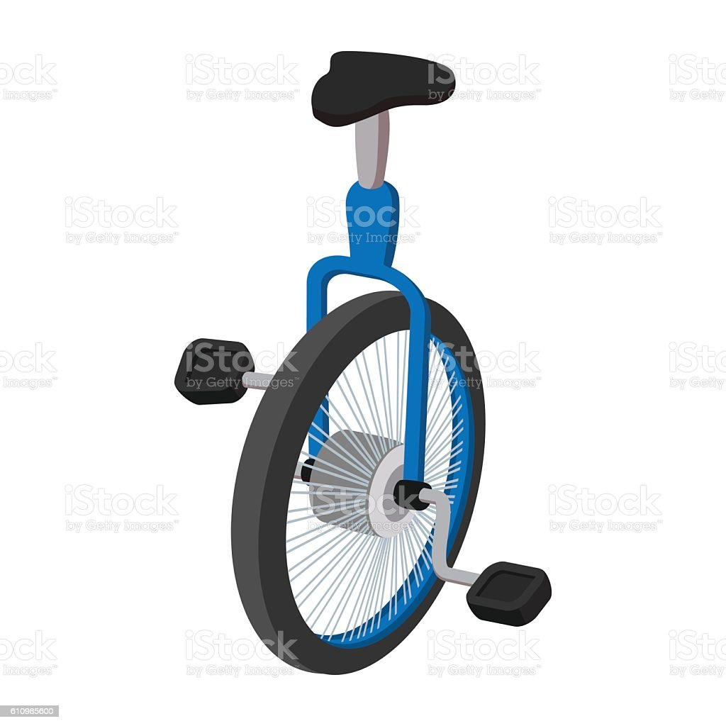 Unicycle, one wheel bicycle cartoon vector art illustration