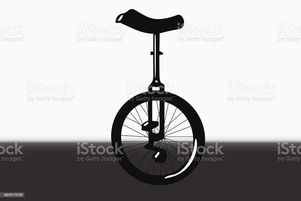 Unicycle silhouette portrait vector art illustration