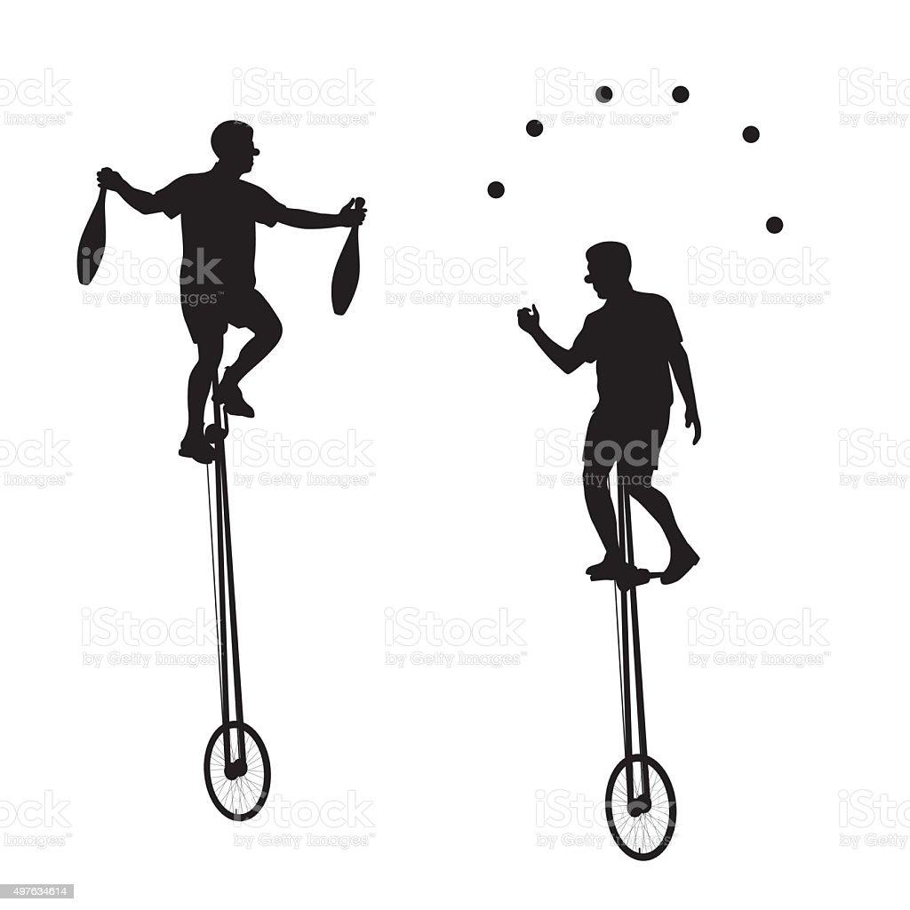 Unicyclist vector art illustration