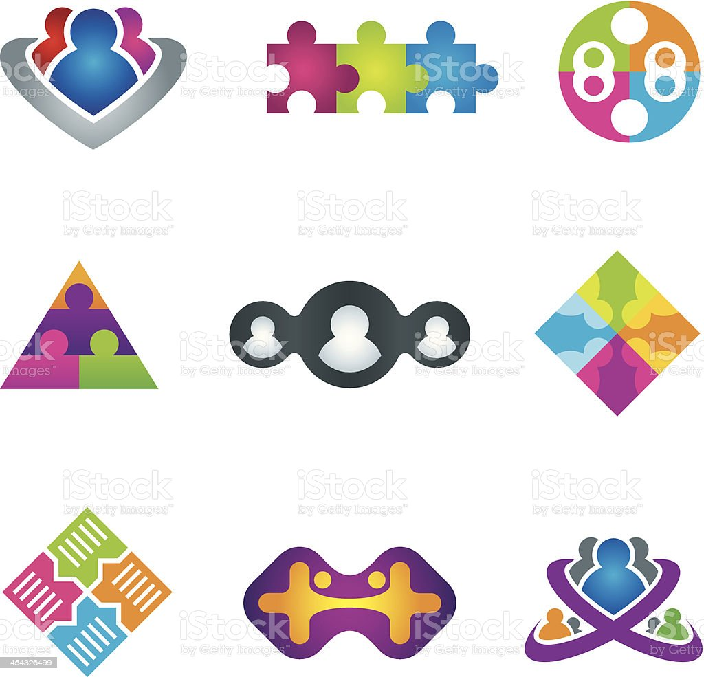 Unification of social community network and communication icons vector art illustration