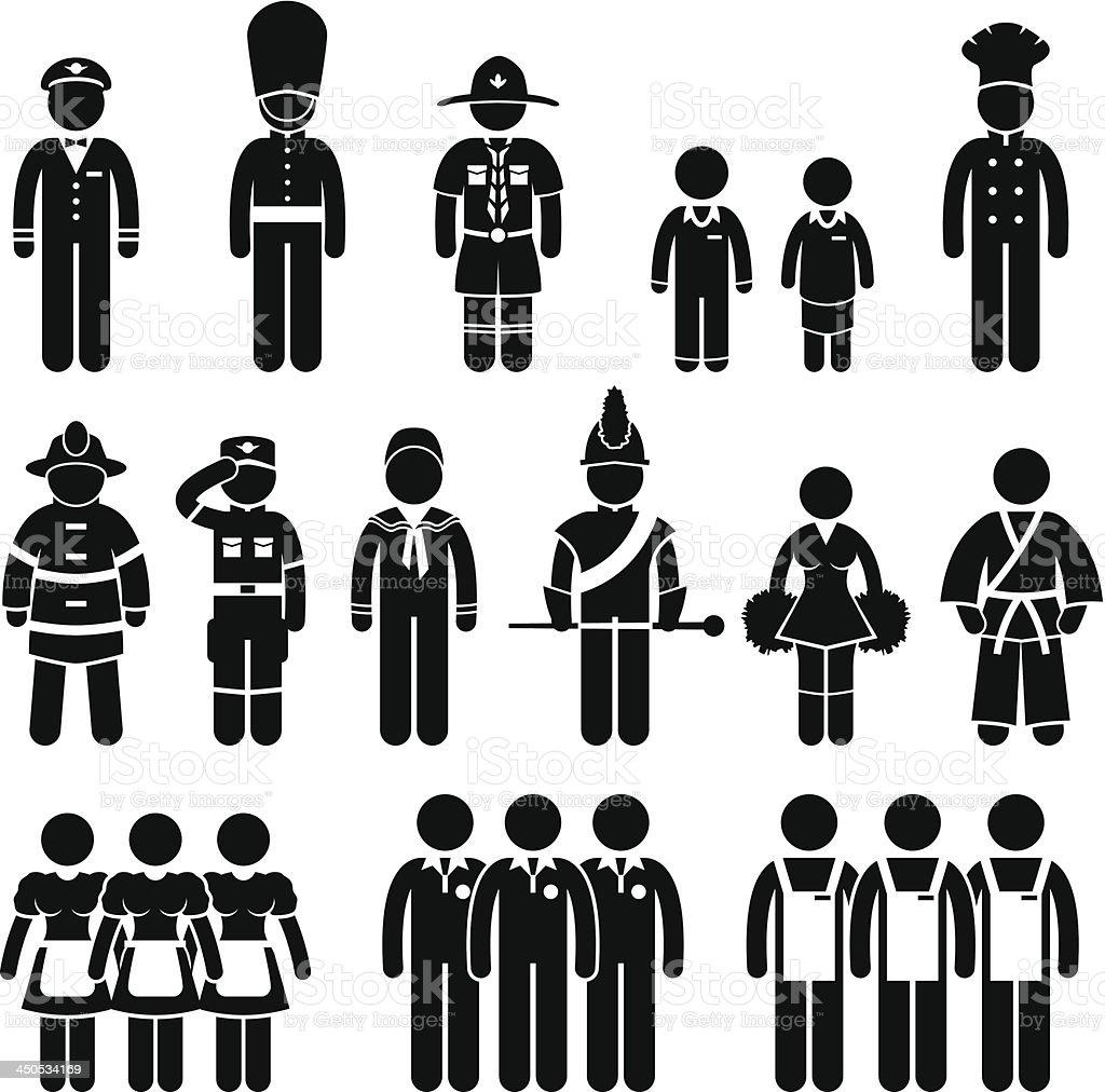 Uniform Outfit Clothing Wear Job Dress Code Pictogram vector art illustration