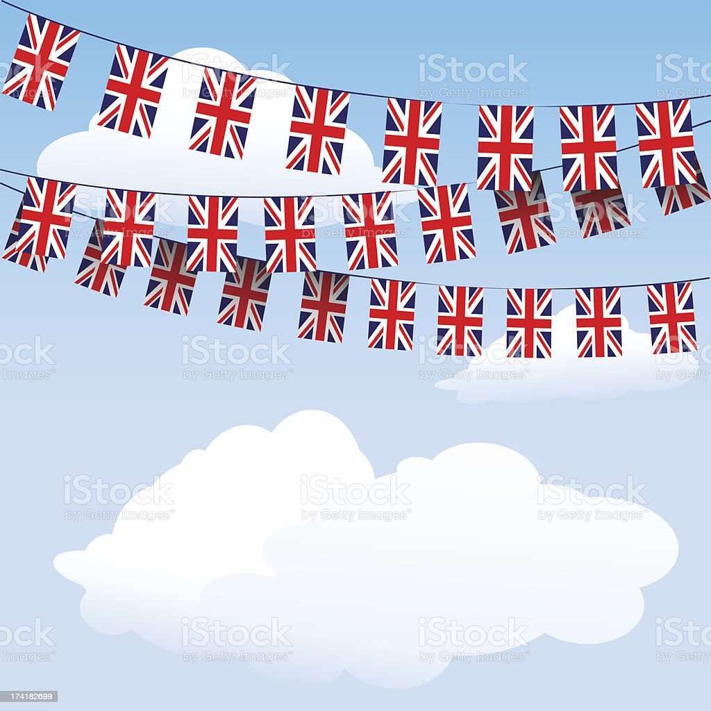Union Jack bunting flags royalty-free stock vector art