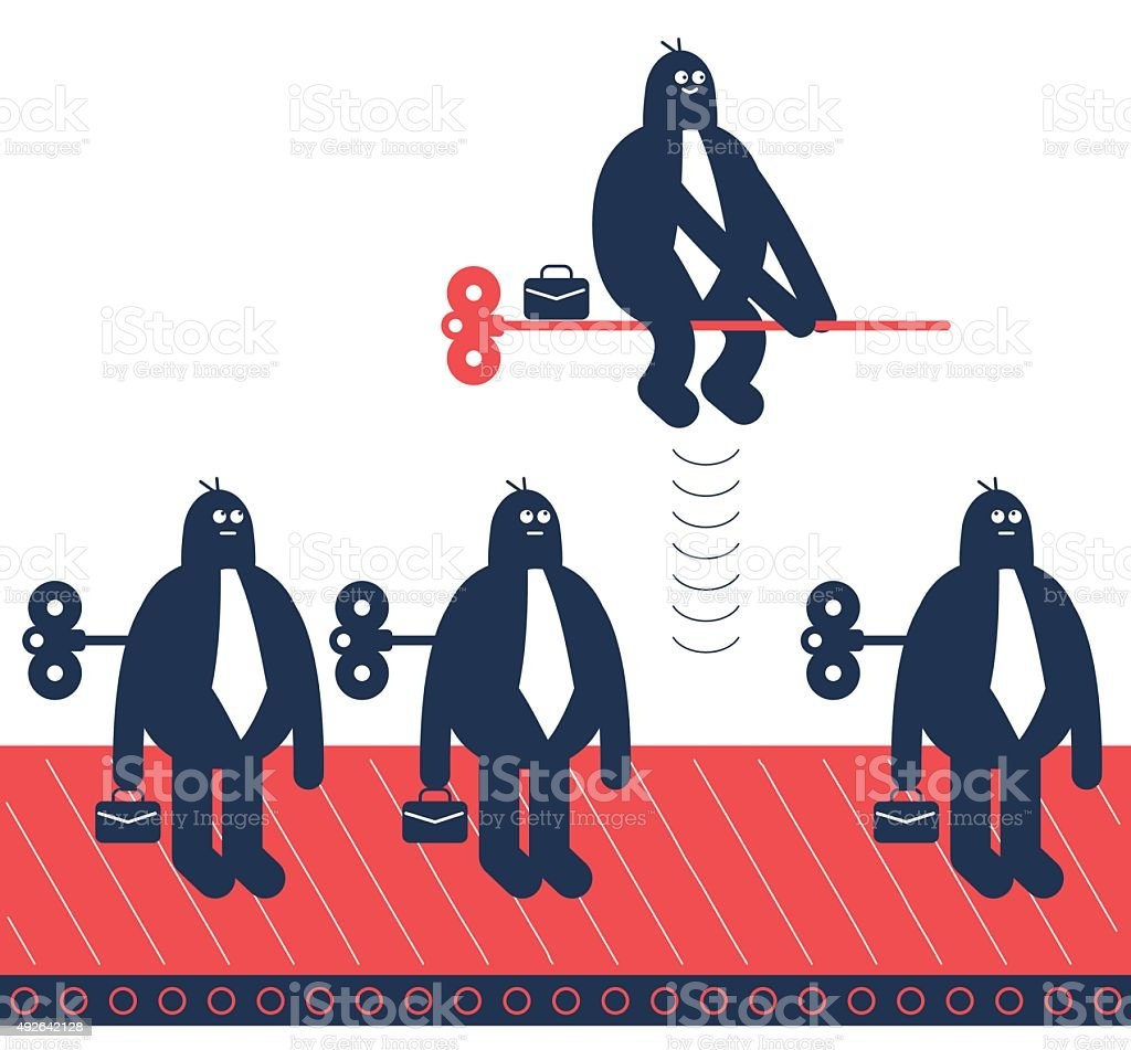 Unique businessman flying by windup key, others on production line vector art illustration