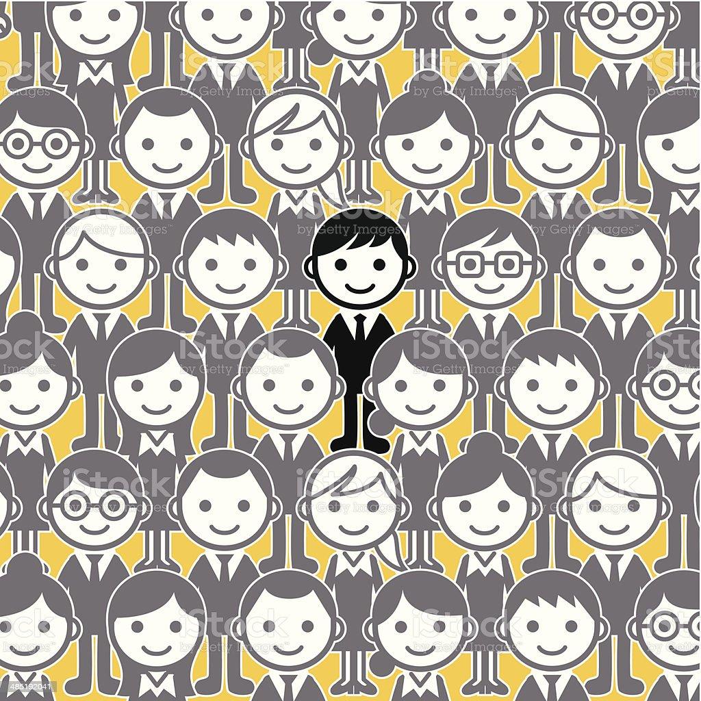unique man in a businessmen crowd vector art illustration