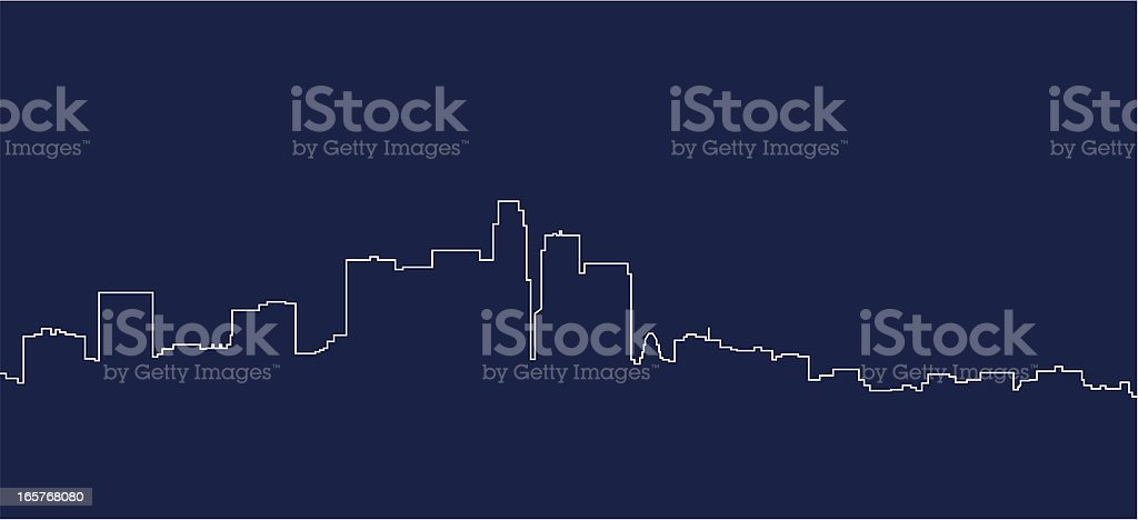 A unique White and Blue navy picture of Los Angeles skyline vector art illustration