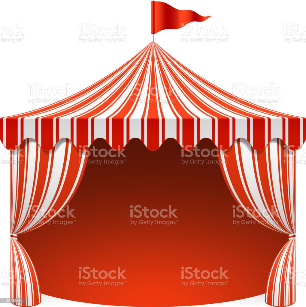A unique white and red striped circus tent that is opened up vector art illustration