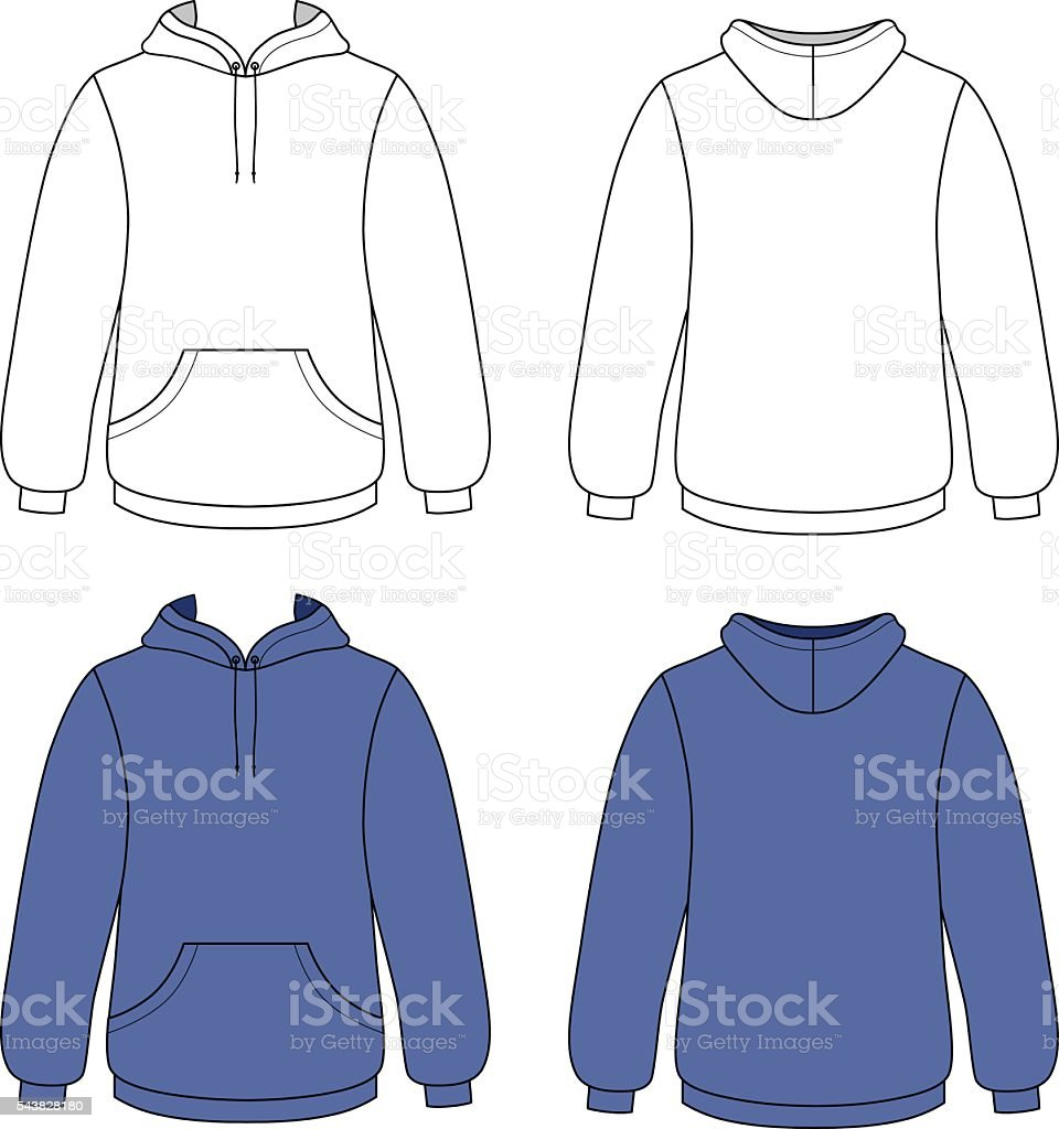 Unisex hoodie (front & back outlined view) vector art illustration