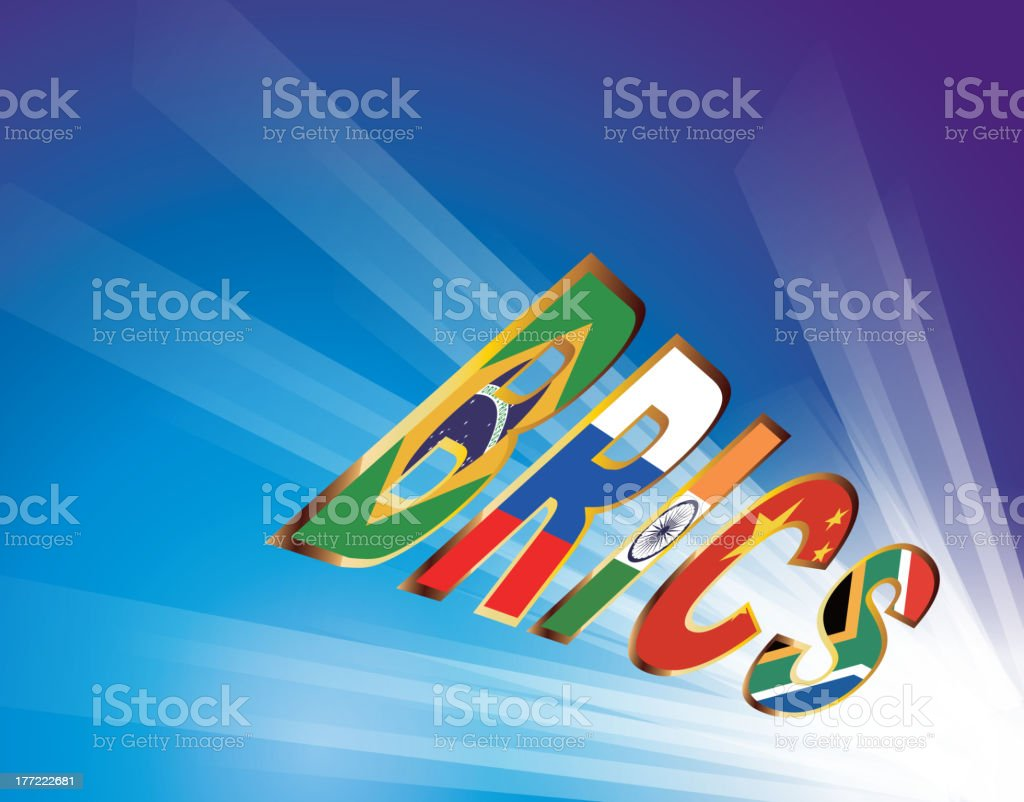 BRICS (Brazil, Russia, India, China, South Africa) Unite royalty-free stock vector art