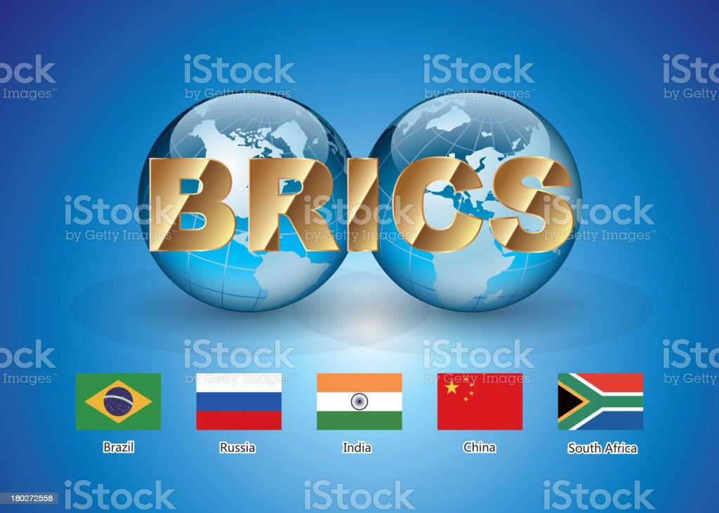 BRICS (Brazil, Russia, India, China, South Africa) Unite royalty-free stock vector art