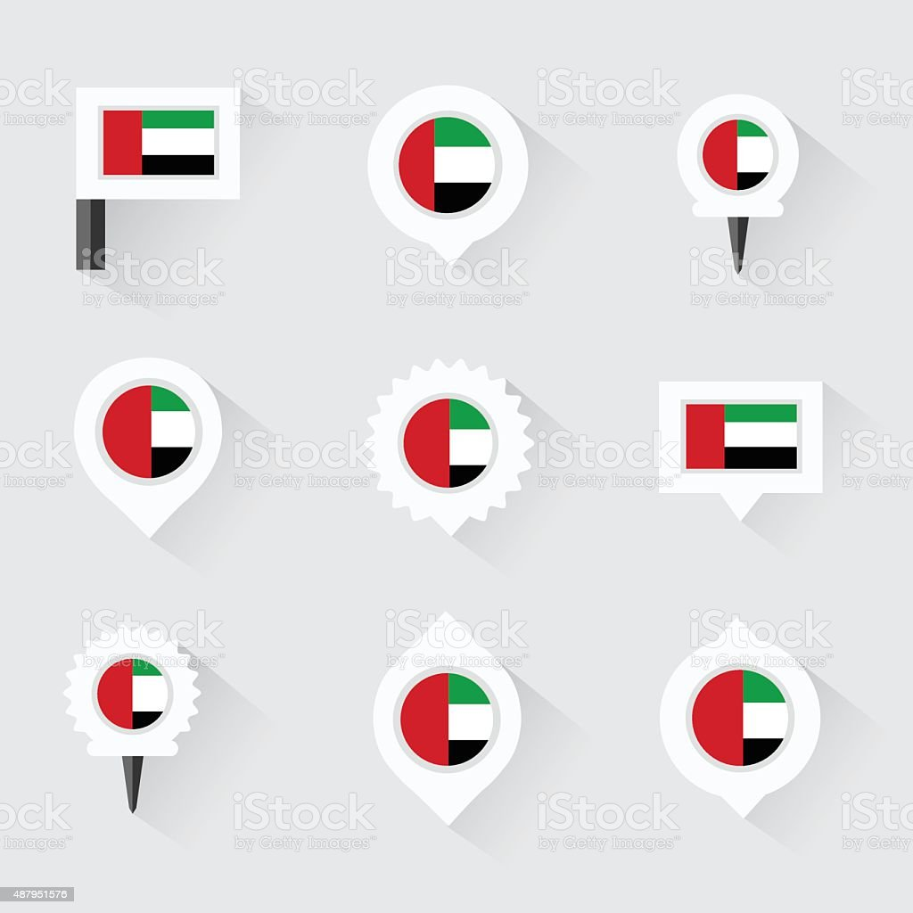 united arab emirates flag and pins for infographic, vector art illustration
