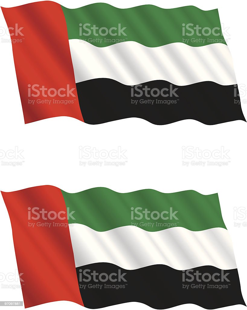 United Arab Emirates Flag Flying in the Wind royalty-free stock vector art