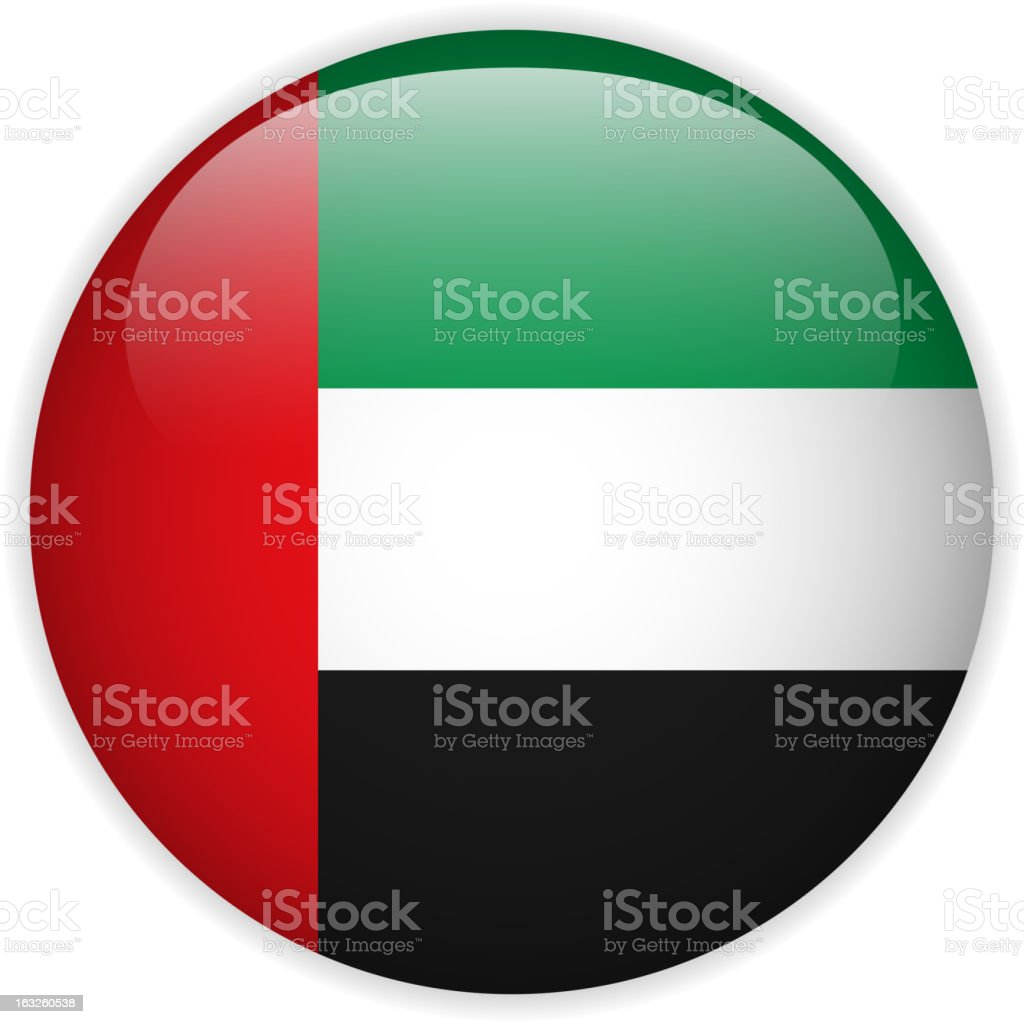 United Arab Emirates Flag Glossy Button royalty-free stock vector art