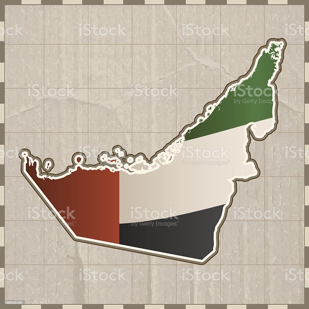 United Arab Emirates flag map royalty-free stock vector art